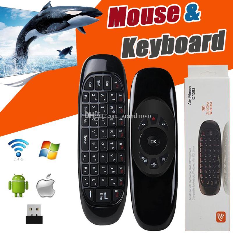 Mini tastiera C120 T10 telecomando senza fili 6 giroscopio 2.4GHz Air Mouse per MXQ Pro M8S Mini MX TV Box con pacchetto
