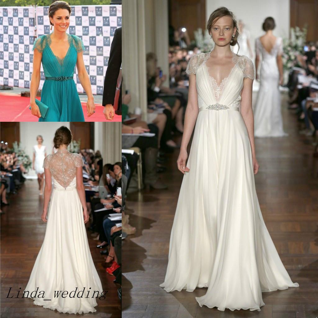 Envío Gratis Kate Middleton En Jenny Packham Vestidos de noche Vestidos de noche largos de encaje de cristal Vestidos de celebridades Vestidos De Fiesta