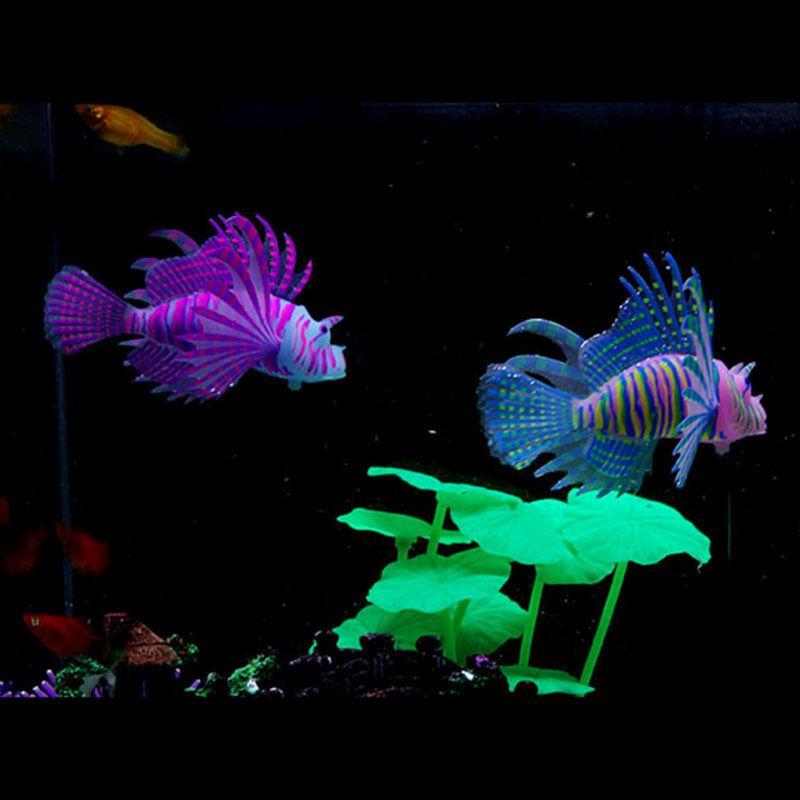 1PC Glow In Dark Artificial Aquarium Lionfish Ornament Fish Tank Jellyfish Decor #R21