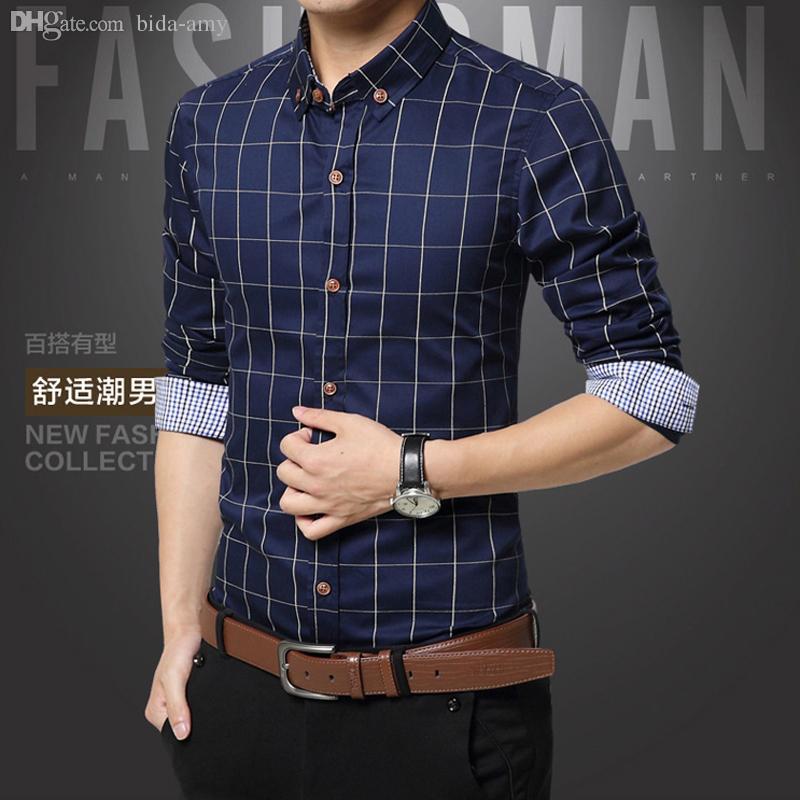 도매 체크 무늬 망 셔츠 패션 스타일 코튼 망 드레스 셔츠 의류 소셜 캐주얼 셔츠 남성 Chemise Homme M-5XL