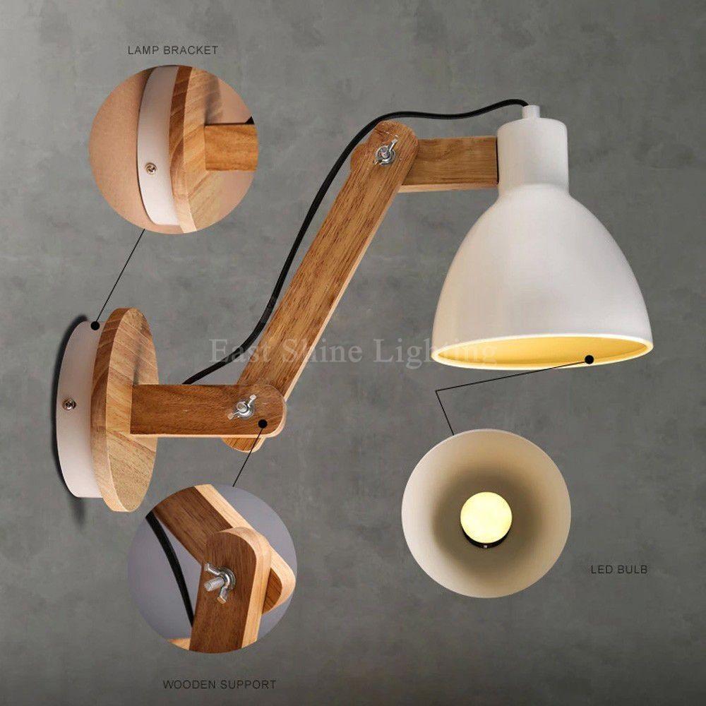 lmparas de pared de madera de estilo nrdico luces de brazo oscilante ajustable luces de pared lmparas de dormitorio decoraciones loft accesorios de - Lamparas De Pared