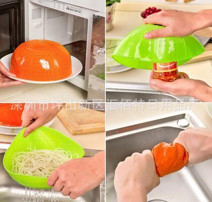 패션 핫 다기능 실리콘 주방 배수 바구니 쌀 세척 야채와 과일 바구니 전자 레인지 요리 커버