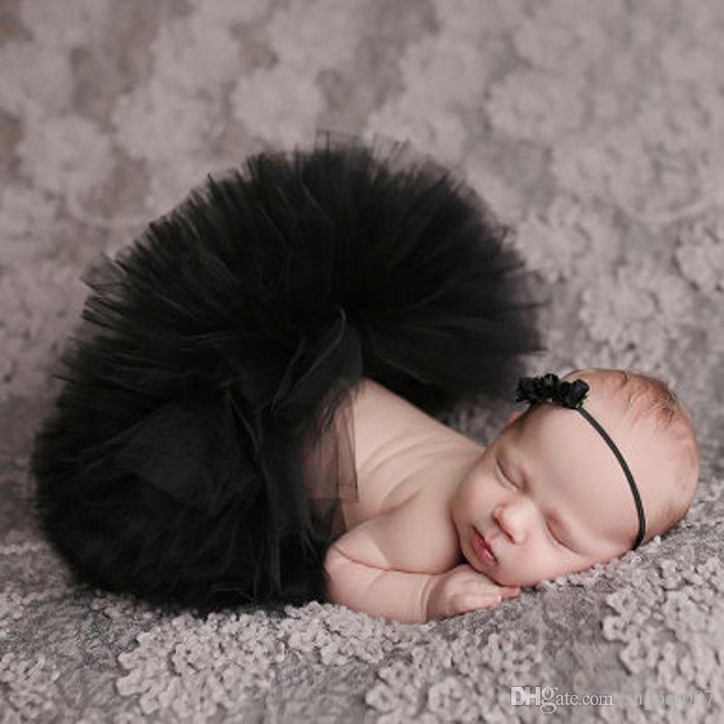 1 Set Baby Girls Newborn Flower Tutu Skirt Costume Infant Tulle Tutu Matching Flower Headband Photography Prop Hair Accessories