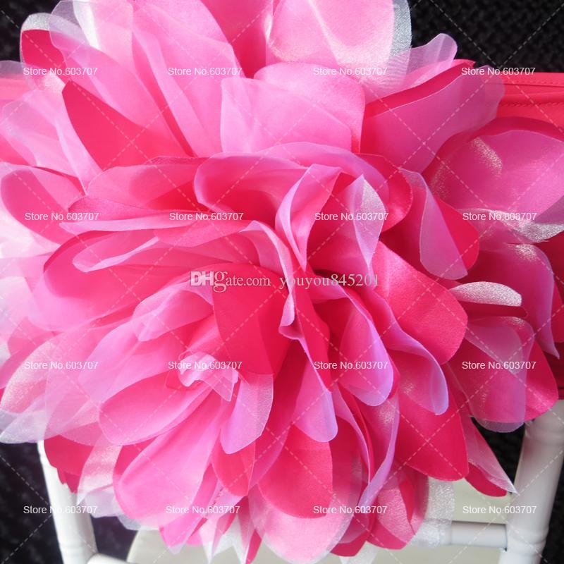 100pcs livraison gratuite orange / fuchsia satin organza grande fleur lycra chaise bande pour utilisation de décoration de mariage