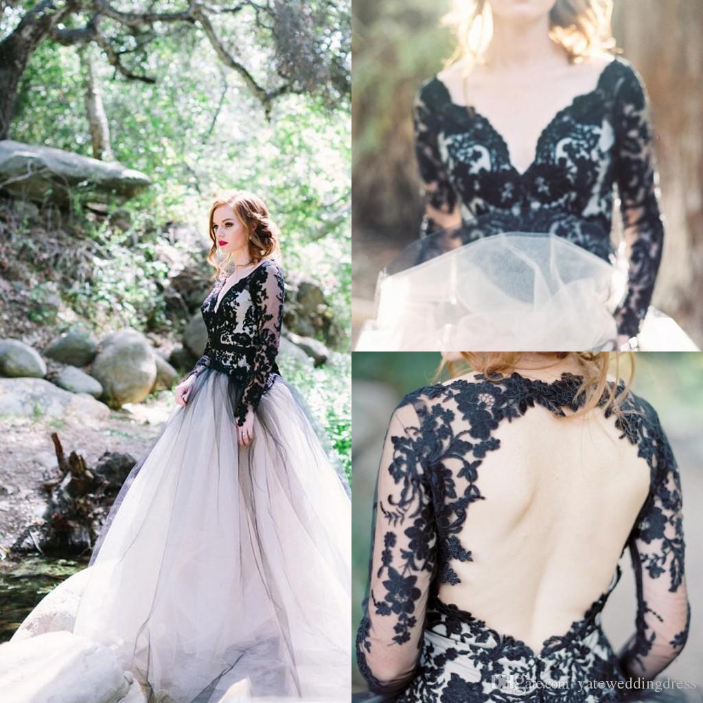 Modest V-Neck Prom Dresses With Black Lace Applique Long Sleeves Illusion Evening Dresses Open Back Custom Made Vestidos De Noival 2017
