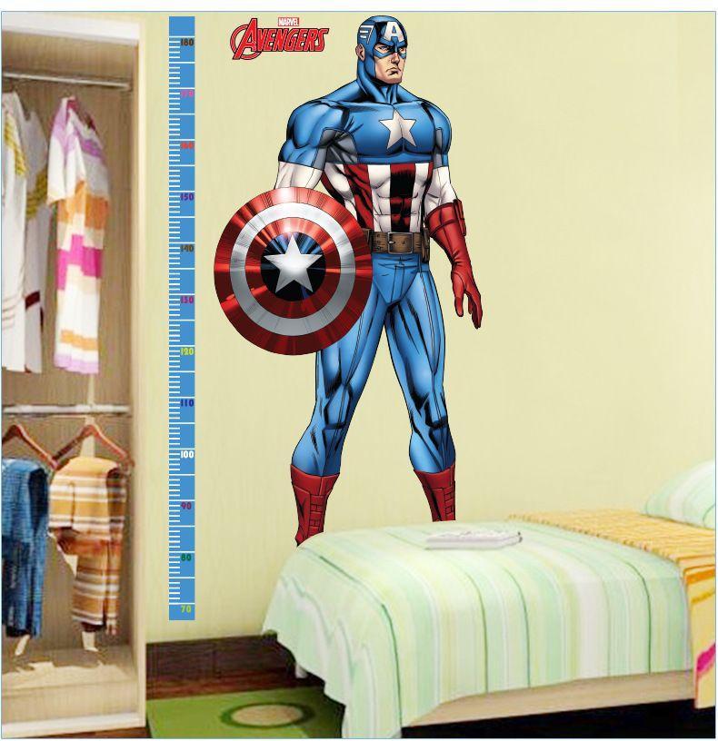 2016 New Hot Avengers Captain America Height Stick Children\'S Room ...