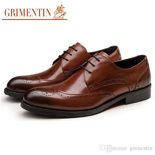 GRIMENTIN Hot sale Italian fashion formal mens dress shoes high quality black men oxford shoes genuine leather business wedding men shoes