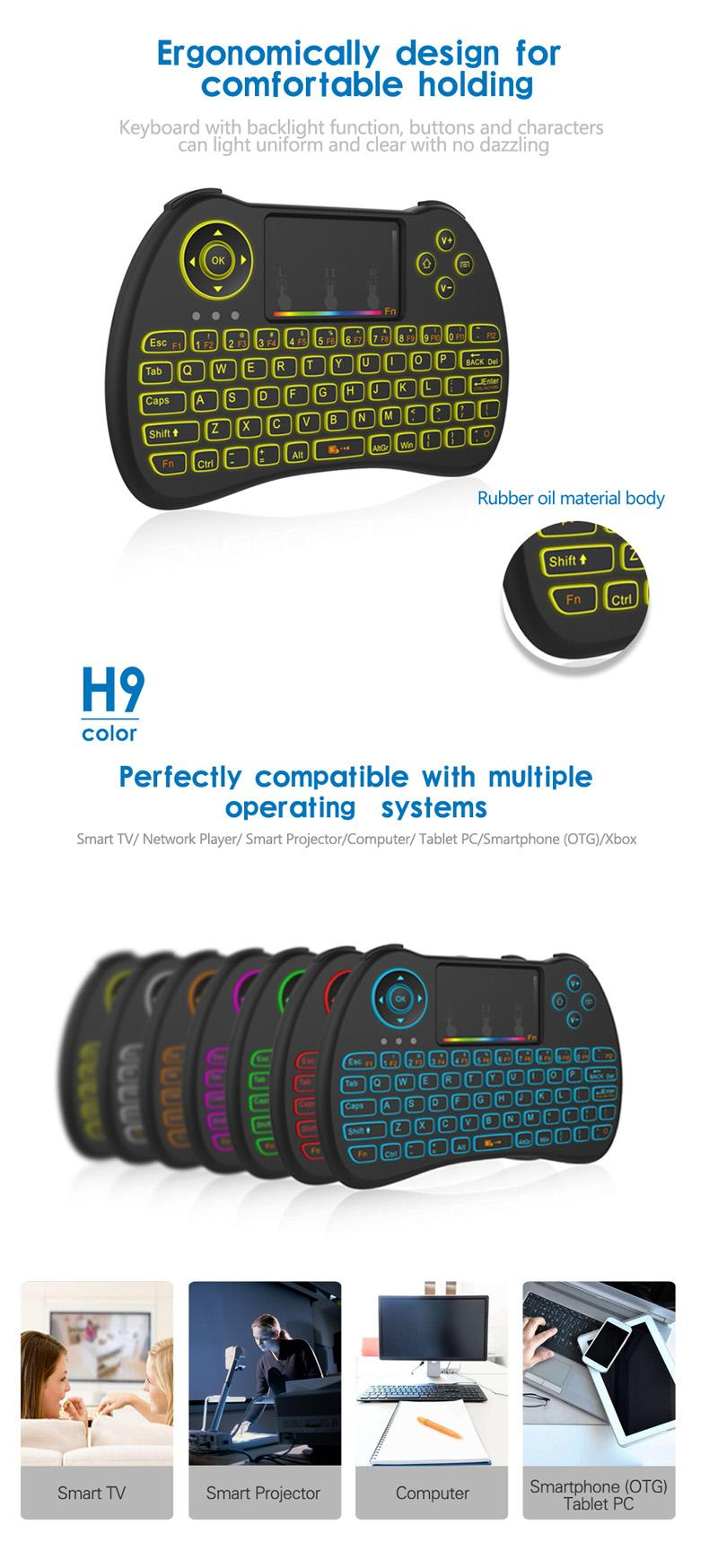 H9 2 4G Mini Wireless Gaming Backlit Keyboard With RGB Iridescence  Backlight Touchpad Air Mouse For PC Android TV BOX Remote Desk Top Remote  Desktop