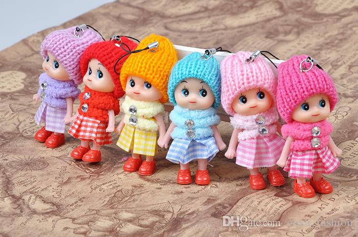 8cm Kids toys pendant dolls baby doll with cloth for girls 6 colors mix free shipping