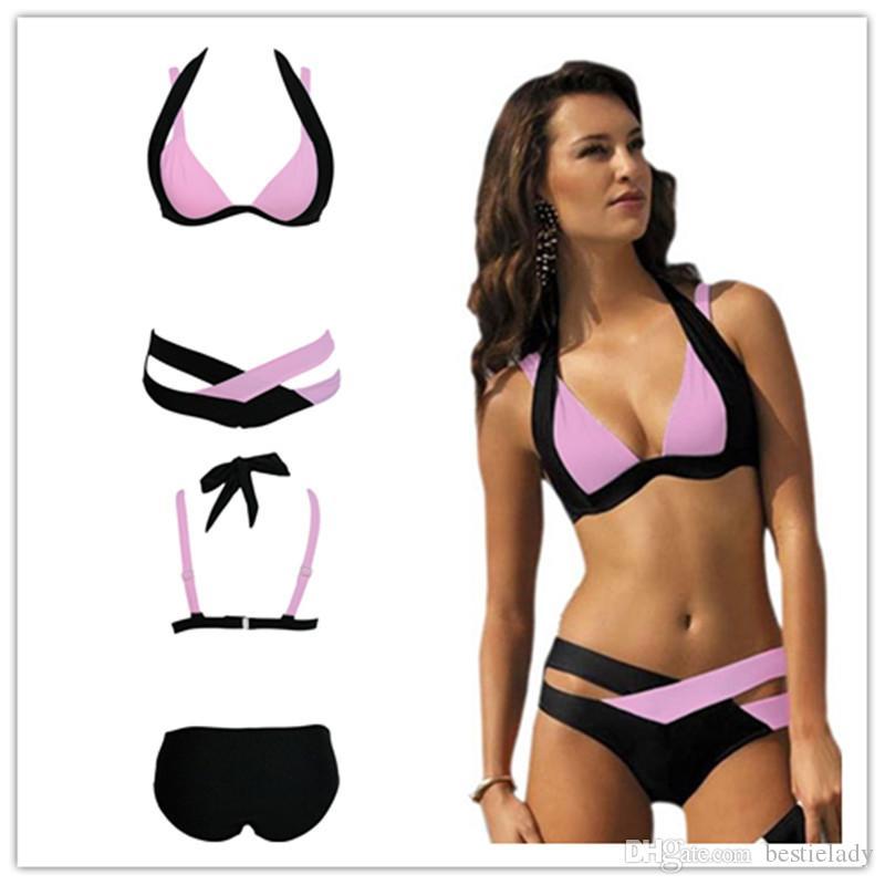 بالاضافة الى حجم تقاطعات ضمادة اللون على النقيض من كتلة مزدوجة ملونة قميص بحمالة عنق دفع ما يصل الاستحمام بيكيني ملابس السباحة بالاضافة الى حجم ملابس النساء 41249
