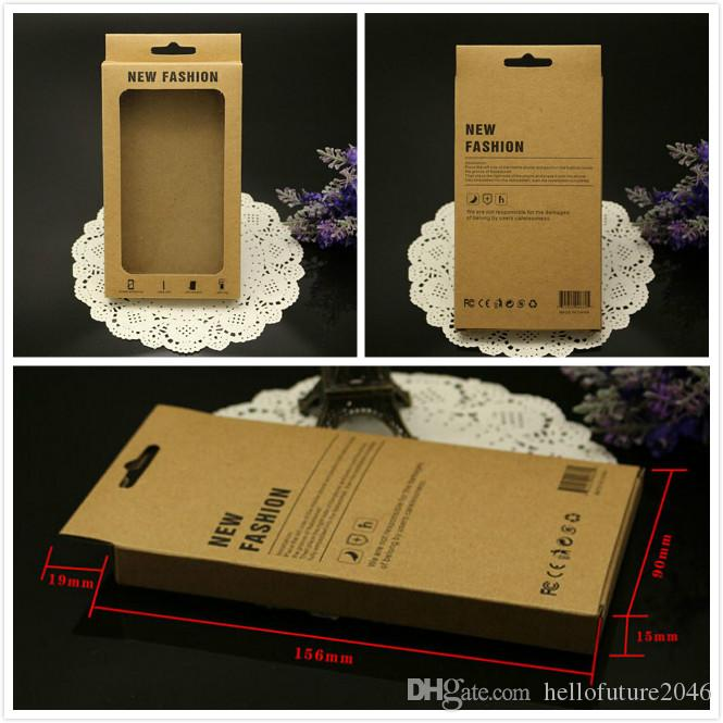 155*90*15mm new fashion brown kraft paper retail package box for iphone 6 6s leather case back cover