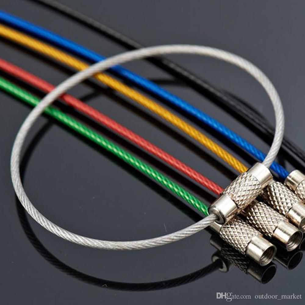 10 Pcs chaveiro mosquetão acolchoar fivela gancho clipe EDC ferramenta ao ar livre cabo de fio de aço inoxidável cabo chave Survival Mousqueton cabo