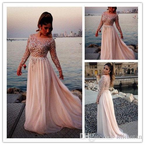 Тенденция с длинным рукавом вечерние платья блестками бисер шифон платья выпускного вечера vestidos de festa вечернее платье для выпускного совок Vestidos