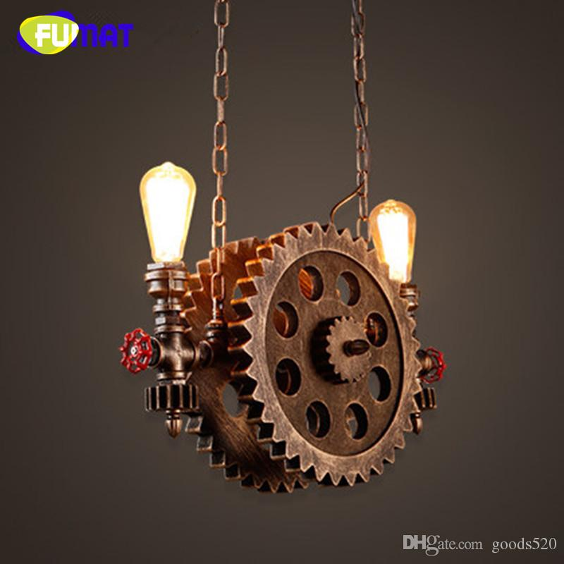 FUMAT Gear Pendant Light Vintage Iron Pipe Pendant Lamps Bar Loft Industrial Hanging Lamp Wood Gear Light Fixture For Restaurant