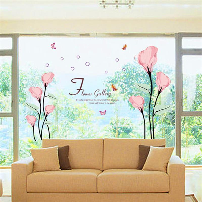 Flower Butterfly Wall Stickers Home Decor Removable 9211 Diy Beautiful Home Decoration Red Flowers Wall Sticker Decor Decal