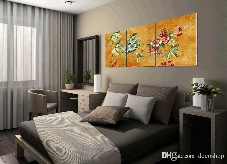 Modern Beautiful Flowers Fine Floral Painting Giclee Print On Canvas Home Decor Wall Art Set30248
