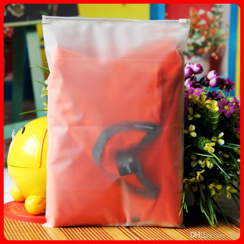 24x35 cm CPE Buzlu Saydam Giyim Depolama Ambalaj Fermuar Plastik Kese Mat Kullanımlık Zip Kilit Giysi Paketi Elbise Öz Mühür Çanta