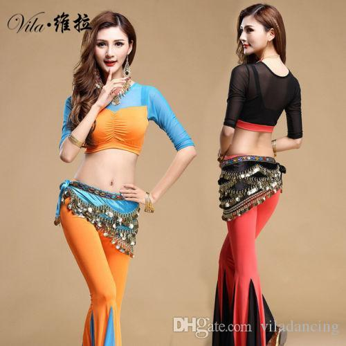 Hot selling New style indian dancing set clothes costume 3pcs belly dance wear top/pants/belt 3 in 1 set for lady