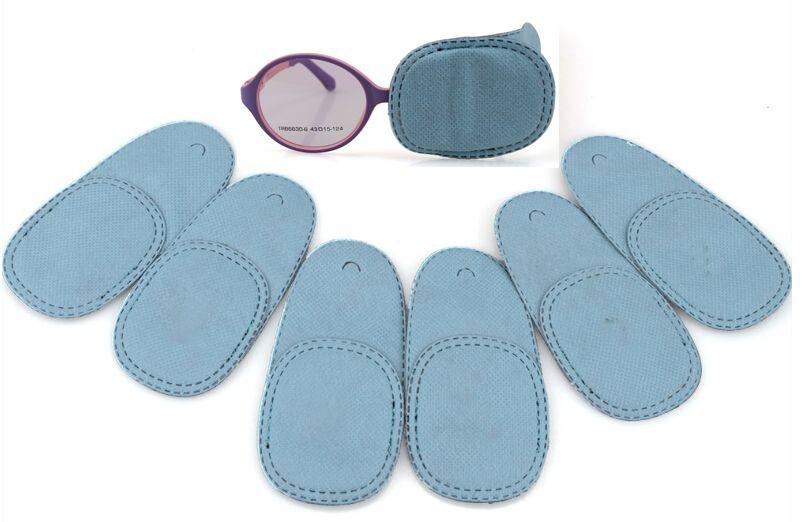 6pcs / lot 1 paire dans un patch opaque masque pour les yeux traitement amblyopie bleu sac opp pour enfants formation de vue faible