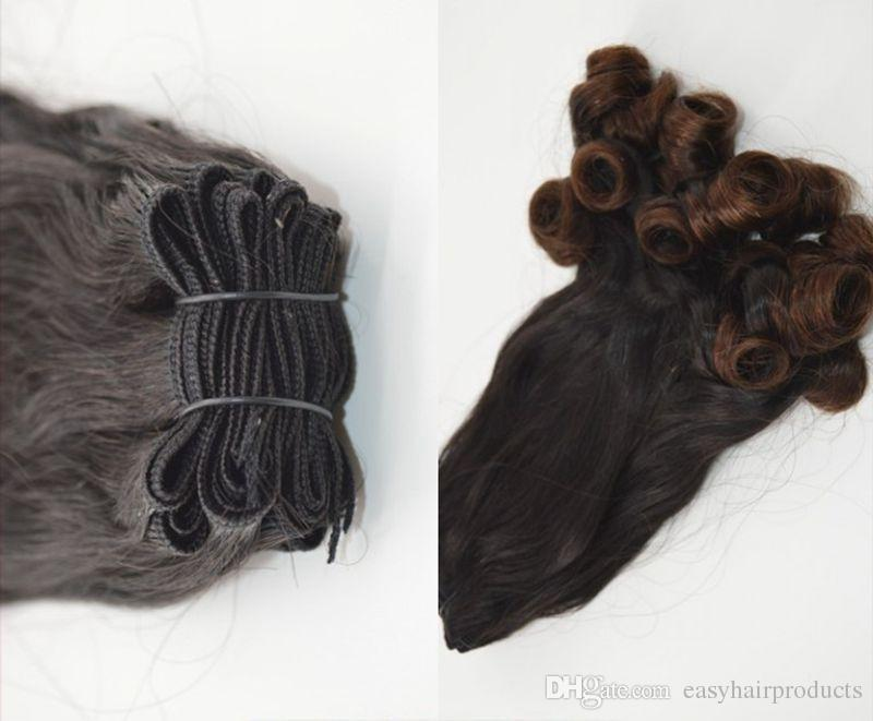Aunty funmi curly Ombre Hair Extensions Two Tone Colored Hair Weave 100% Brazilian Human Bundles 3pcs G-EASY