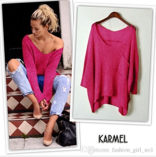 Outono a nova versão coreana de grandes malhas das mulheres de algodão de manga comprida pontos de costura camisola pullover malha camisa de fundo frete grátis
