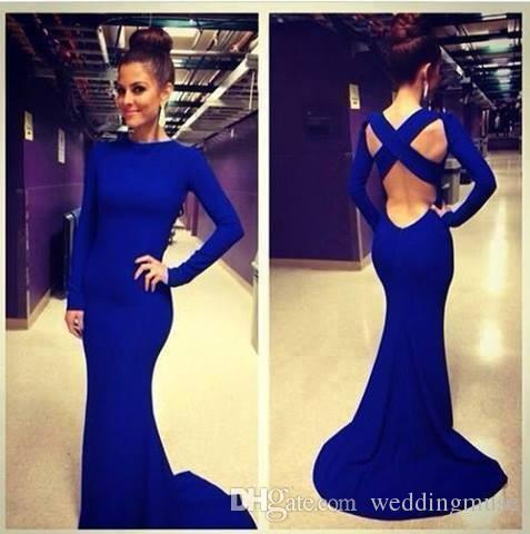Élégant bon marché 2021 sirène robes de bal sirène royal gaine bleue gaine manches manches longues manches de fête fête fête célébrité pageant robes personnalisées fabriquées