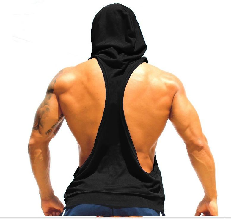 Men's Novelty Tight-fitting Sports Cotton Hooded Tank Tops For Men 2016 New Fashion Running Sleeveless Gym Fitness Vests XXL
