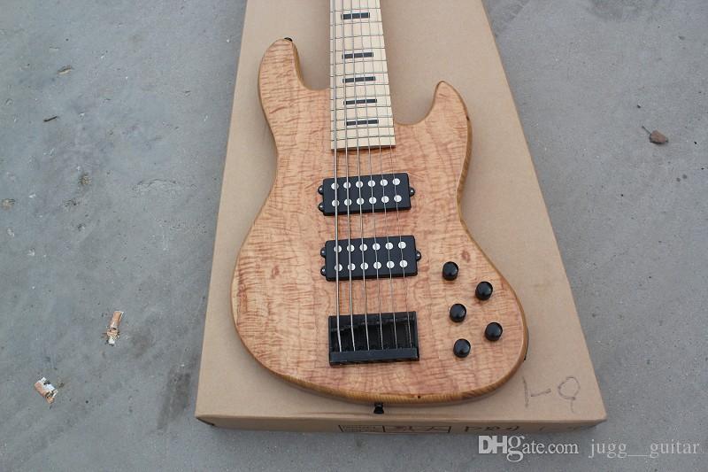 Naturel Décorable 6 cordes JazzBass guitare basse électrique 9V batterie active Micros Manche en érable Black Block Inlay Noir Fingerboard