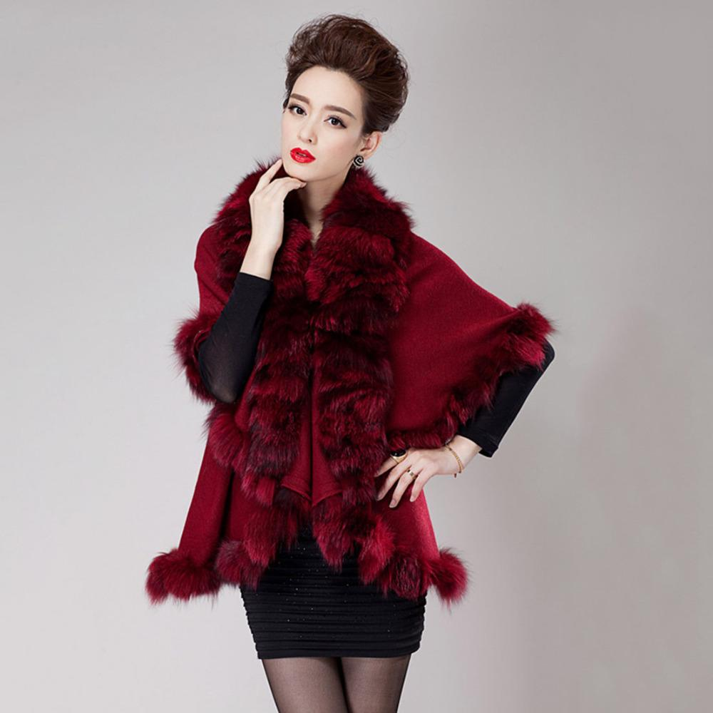 2016 Big Plus Size New Real Fur Shawl Women Knitted Cashmere Cape