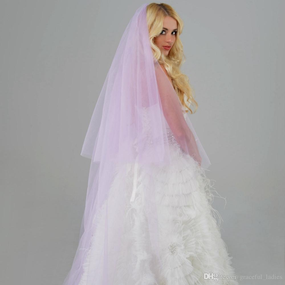 Veli da sposa viola con blusher morbido tulle in metallo pettine 98 pollici lungo colore personalizzato / lunghezza veli da sposa nuovi 2017 veli per spose