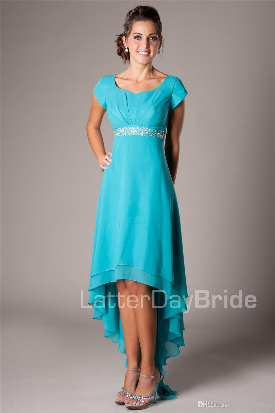 Summer Teal High Low Chiffon Beach Modest Bridesmaid Dresses Cap Sleeves Short Front Long Back Maids of Honor Dresses Wedding Guests Dresses