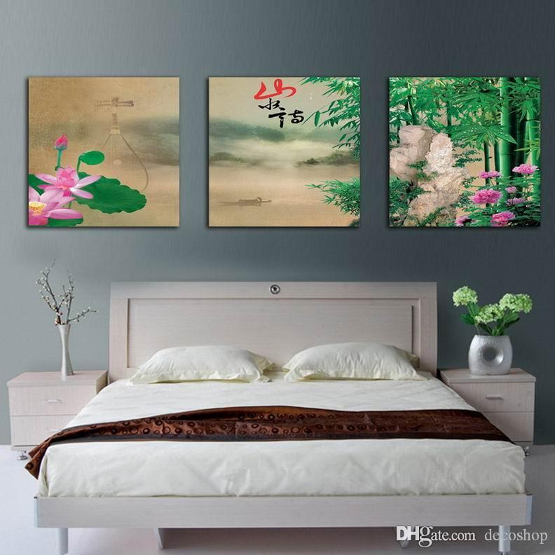 Moderna Contemporânea Feng Shui Wall Art Pintura De Paisagem De Bambu Hd Impressão Na Lona Set30260