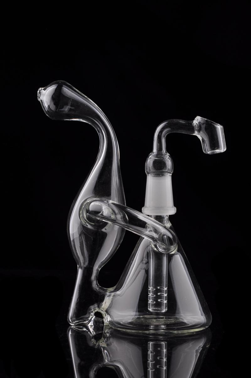 Dab Rig Mini Beaker Recycler Glass Bong Hand Blown Unique Design Small Water Pipe 5 inch Oil Rig Bubbler Sale Delicate Appearance