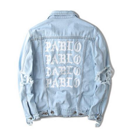 Giacca in denim Kanye West più recente I FEEL LIKE PABLO giacca oversize uomo e donna hip hop fear of god cappotto jeans rotto