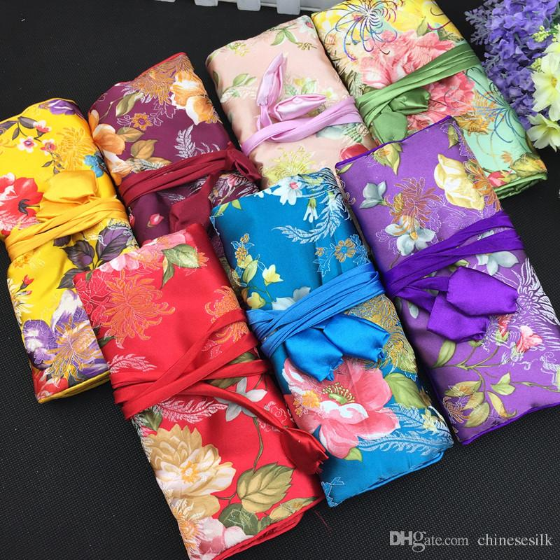 Large Pretty Flower Foldable Jewelry Roll Up Travel Bag Cosmetic Makeup Storage Bag Drawstring Chinese Silk Brocade Pouch Bag 30pcs/lot