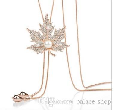 2 pezzi in oro * colore argento foglia d'acero foglie collana di perle ciondolo (168)