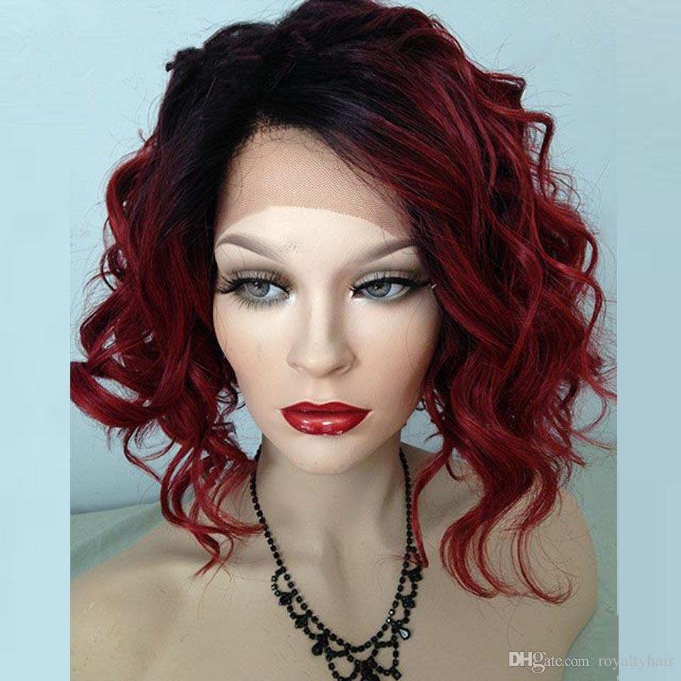 Bob Style Curly Ombre 99J Lace Front Wig Short Bob Glueless Lace Front Human Hair Wig Burgundy Full Lace Wig For Black Women