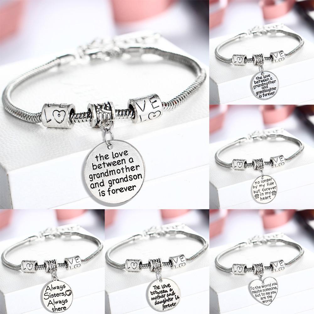 Braccialetto Pandora all'ingrosso AMORE Cuore regalo perfetto per i membri della famiglia per i compleanni di Natale SISTER MOM Clear Charm Bracelet