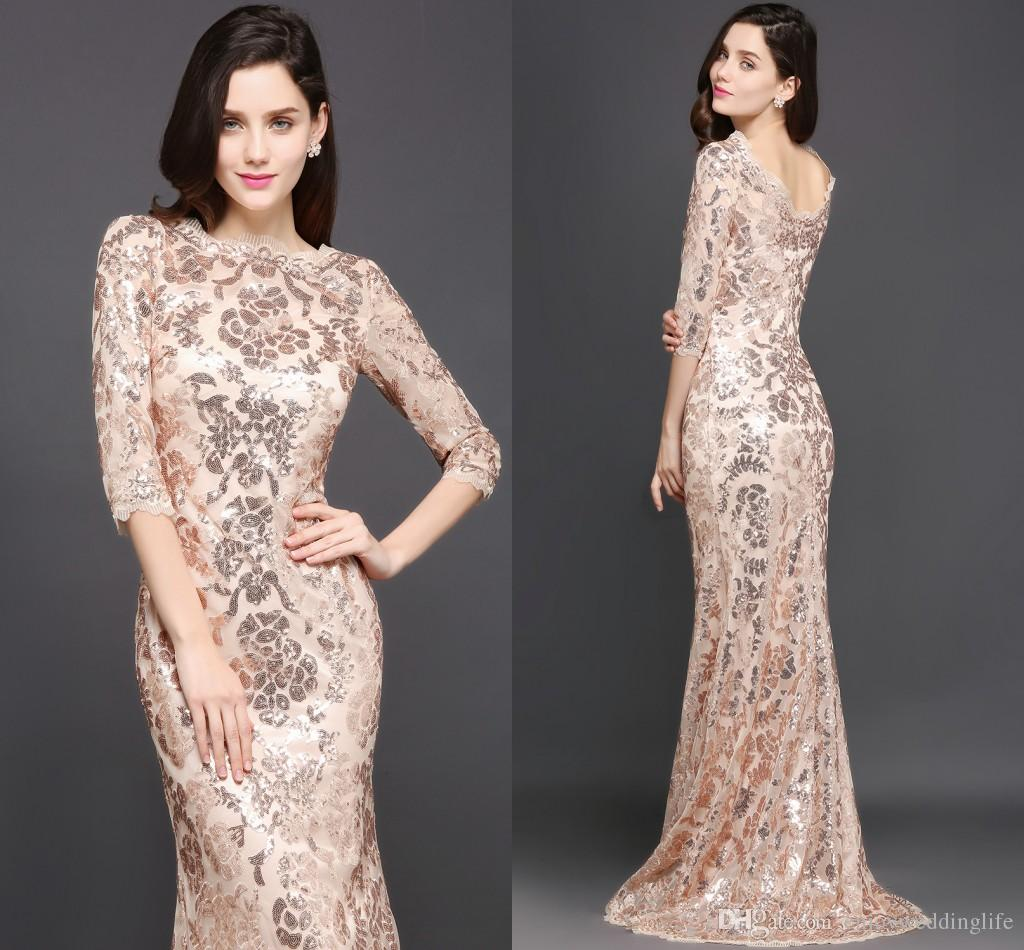 rose gold maxi dress with sleeves