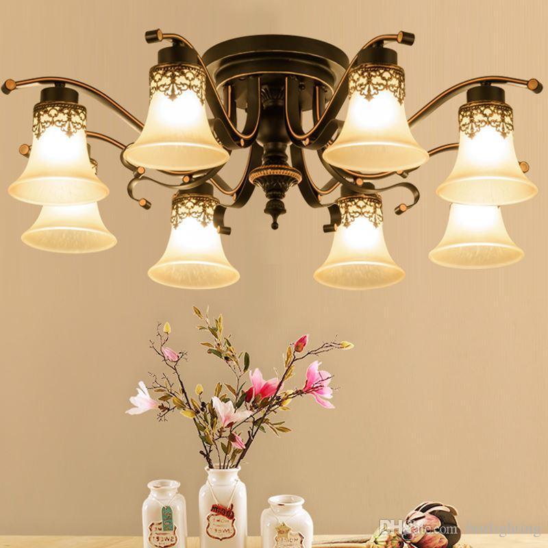 Europejski styl salon Lampa Iron American Sufit Lampa Nowoczesne Gospodarstwa Gospodarstwa Jadalnia Lampa Master Sypialnia Lampy i Latarnie