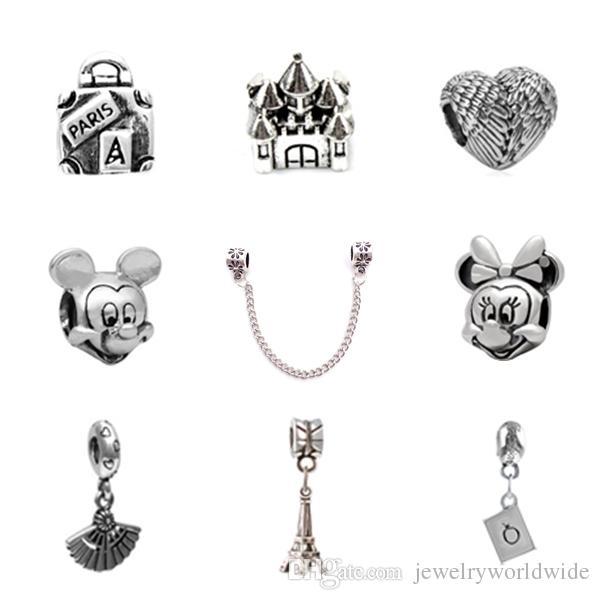 10PCS من كل مجوهرات سحر الخرزة ميكي الريشة قلعة فان سبائك قلادة 925 الفضة مطلي أزياء المرأة النمط الأوروبي للحصول على سوار باندورا