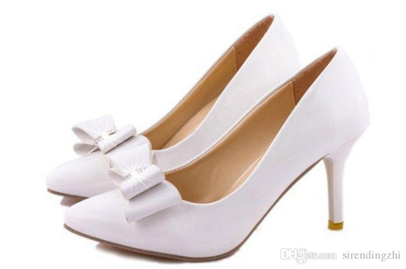 In the autumn of 15 new single Shoes Sexy shallow mouth bow knot with fine post fall high heels Korea Princess
