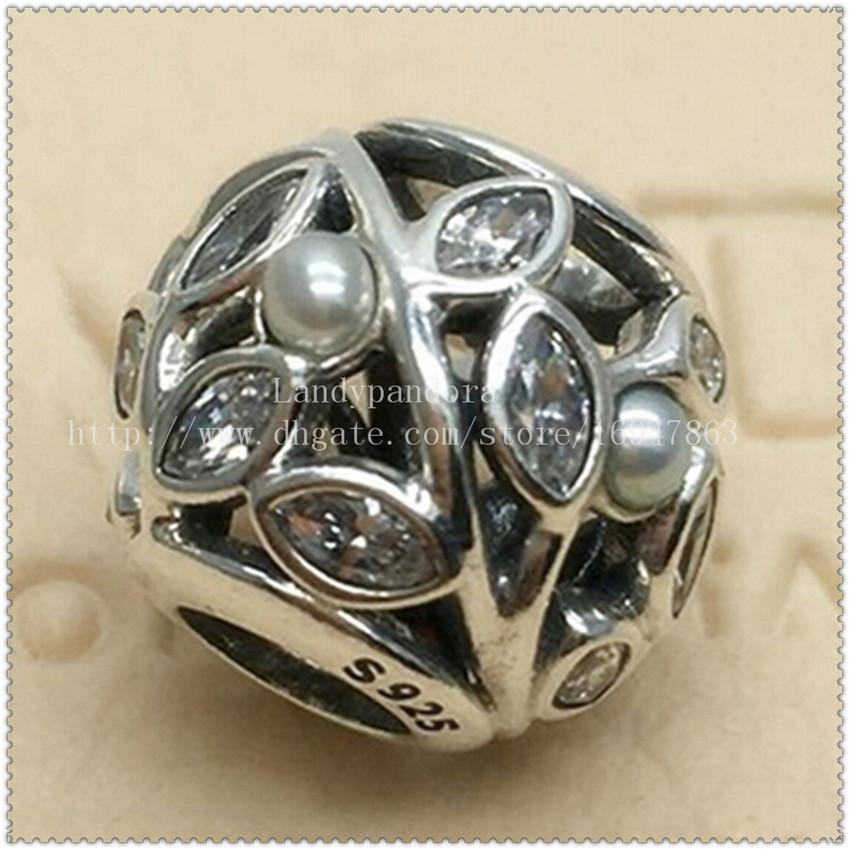 2016 Nueva S925 Sterling Silver Luminous Leaves Charm Bead con Clear Cz y Pearl adapta a las pulseras de la joyería europea