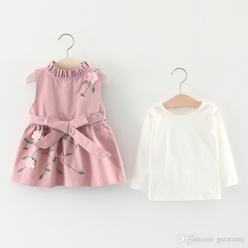 Korean Toddler Infant Kids Baby Girls Outfits knit Tops Dress Kids Clothes Set