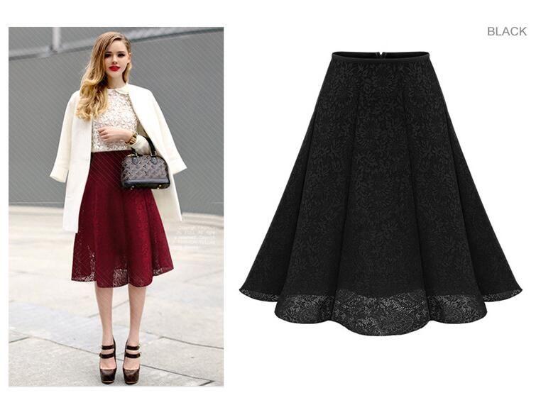 3b1e43141 Compre Faldas Plisadas Negras Para Mujer Otoño Gris Elástico Falda Plisada  De Talle Alto Borgoña Encaje Moda A Line Damas Midi Tutu Juniors A ...