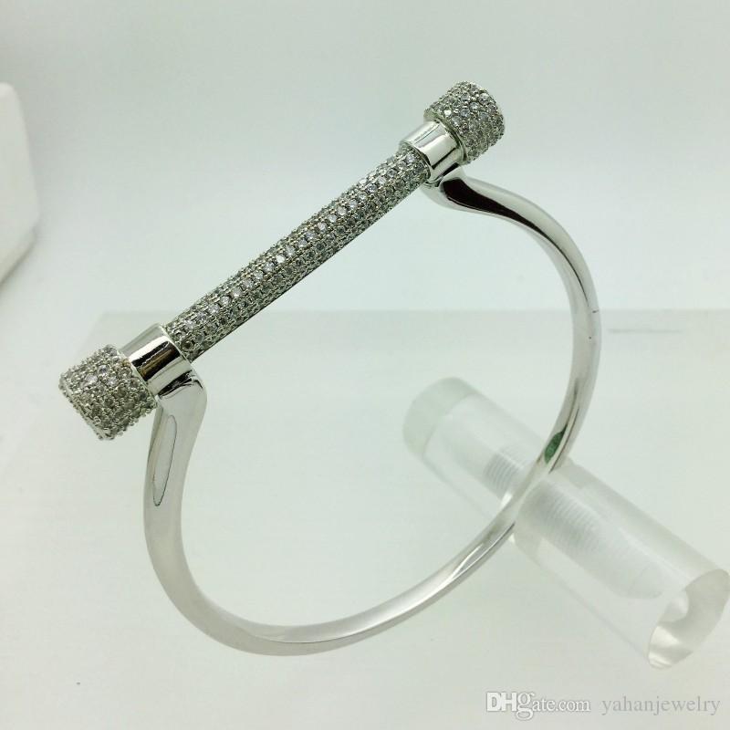Yahan micro top gioielli di qualità pavimenta impostazione cavallo zircone rame cubico zoccolo braccialetto U braccialetto APNN vendita superiore per l'accessorio bangle donna