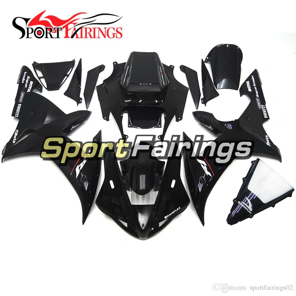 Motorcycle Gloss Black With White Decals Fairings For Yamaha YZF1000 R1 02 03 2002 2003 Injection ABS Fairings Motorcycle Bodywork Cowlings