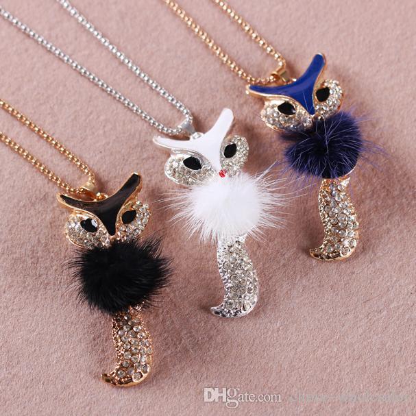 Stylish plush fox Pendant necklace Simulated diamond long sweater chain Women Jewelry New factory price Mix color 20pcs/lot