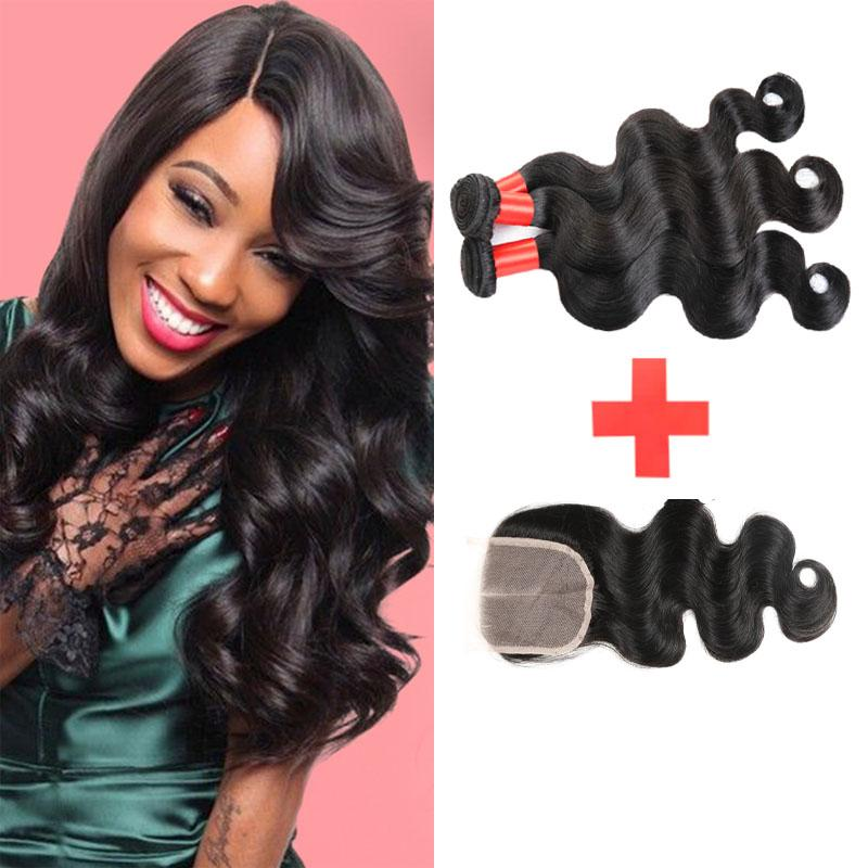 7A Brazilian Body Wave With Closure 3 Bundles Weaves Human Hair Weft With Closure Unprocessed Brazilian Virgin Hair With Closure