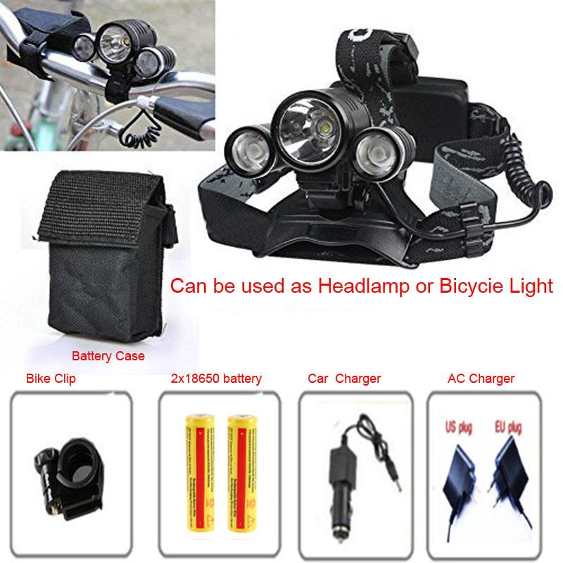 6000Lumen Excellence 3T6 3x CREE XM-L T6R2 LED 4 mode 6000 Lumens Bicycle Light HeadLamp with 2*18650 battery+AC Charger